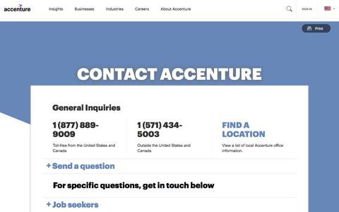 Screenshot of Contact Page accenture.com - Contact Us | Accenture - captured Feb. 16, 2020