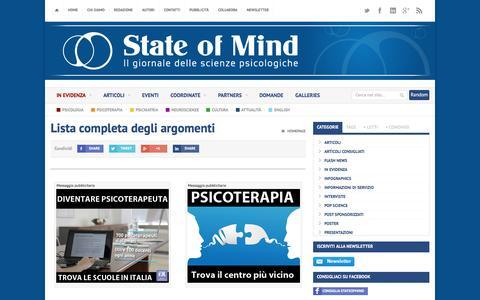 Screenshot of Site Map Page stateofmind.it - Elenco Argomenti (tags) su State of Mind. - Scienze Psicologiche - captured Jan. 31, 2017
