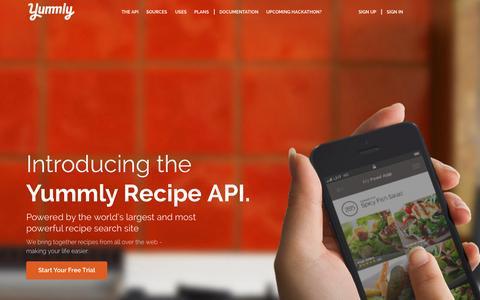 Screenshot of Developers Page yummly.com - Yummly | Recipe API & Food API - captured Nov. 11, 2015