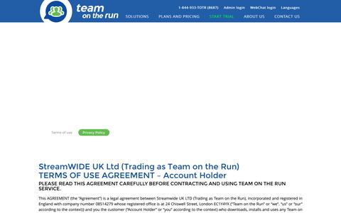 Screenshot of Terms Page teamontherun.com - Team on the Run Private Mobile Messenger | Terms Of Use - captured Oct. 20, 2018
