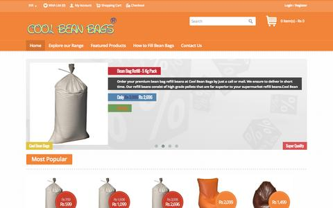 Screenshot of Home Page coolbeanbags.in - Cool Bean Bags - Bean Bags, Chairs, Loungers, Couchs - Pune, India | Online bean bag shop - captured July 24, 2015