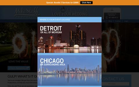 Screenshot of Pricing Page mikestaff.com - Wedding DJ, Photography, and Videography cost and prices for Detroit and all of Michigan - captured Feb. 27, 2016