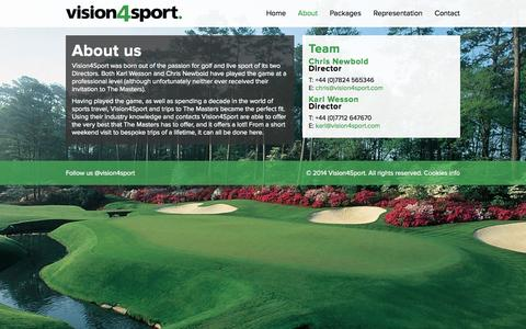 Screenshot of About Page vision4sport.com - About | Vision4Sport - captured Oct. 26, 2014
