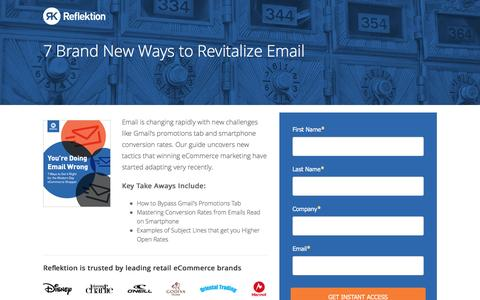 Screenshot of Landing Page reflektion.com - Reflektion | 7 New Ways to Revitalize Your Email Program - captured Oct. 20, 2016