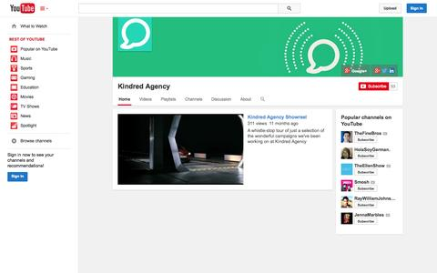 Screenshot of YouTube Page youtube.com - Kindred Agency  - YouTube - captured Oct. 22, 2014