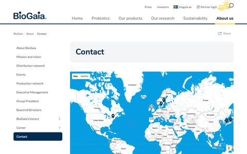 Screenshot of Contact Page biogaia.com - Biogaia Probiotics - Contact - captured Oct. 10, 2017