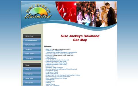 Screenshot of Site Map Page Menu Page discjockeysunlimited.com - Disc Jockeys Unlimited - Site Map - Toronto DJ Services - captured Oct. 23, 2014