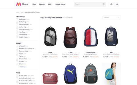 Screenshot of myntra.com - Men's Bags & Backpacks - Buy Bags & Backpacks for Men Online - captured June 20, 2017