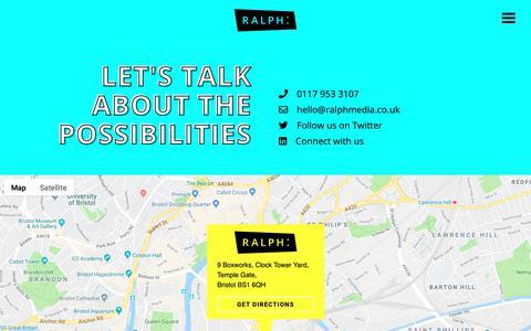 Screenshot of Contact Page ralphmedia.co.uk - Contact us - Ralph - captured Oct. 20, 2018