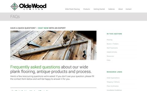 Screenshot of FAQ Page oldewoodltd.com - Reclaimed Floor Questions | Reclaimed Flooring Info | Olde Wood - captured Sept. 26, 2014