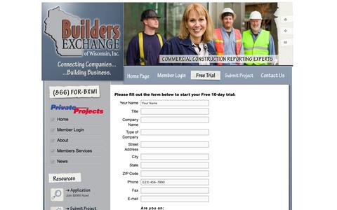 Screenshot of Trial Page bxwi.com - Builders Exchange of Wisconsin   » Free Trial - captured Oct. 1, 2014