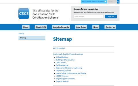 Screenshot of Site Map Page cscs.uk.com - Construction Skills Certification Scheme | Official CSCS Website - Sitemap - captured Oct. 12, 2016