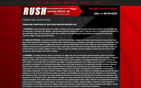 Screenshot of Terms Page rushaviationservices.com - Rush Aviation Services - When Minutes Count... | Terms & Conditions - captured Feb. 15, 2016