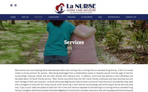 Screenshot of Services Page lanursehomecare.com - Services - La Nurse Home Care - captured July 13, 2017