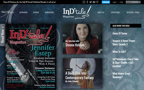 Screenshot of Home Page indtale.com - Home Page | InD'tale Magazine ~ Indie & Small Published Book Reviews - captured Oct. 11, 2018