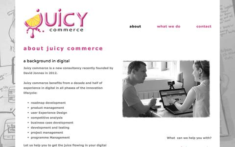 Screenshot of About Page juicycommerce.com - about — juicy commerce - captured Oct. 16, 2017