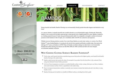 Screenshot of Products Page customsurface.com - Bamboo - captured Oct. 4, 2014
