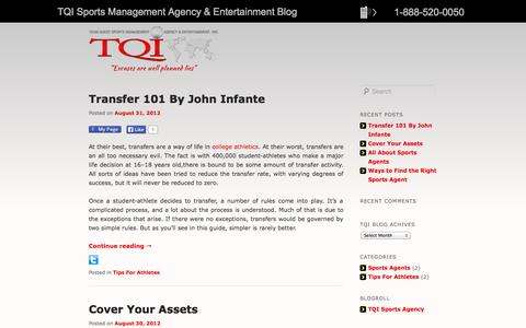 Screenshot of Blog tqisportsagency.com - TQI Sports Management Agency & Entertainment Blog - Sports Agency Management & Entertainment - captured Oct. 6, 2014