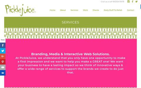 Screenshot of Services Page picklejuice.com - SERVICES | PickleJuice : Award Winning Web Design, Branding and Digital Marketing Agency in Beaufort, South Carolina. - captured Sept. 28, 2018