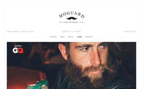 Screenshot of Home Page themoguard.com - The MoGuard - Mustache Guard Drink Attachment - captured May 21, 2016