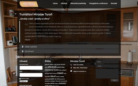 Screenshot of Home Page turon-truhlarstvi.cz - Truhlářství Miroslav Turoň – u nás dřevu rozumíme - captured June 13, 2016