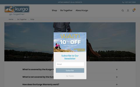 Screenshot of FAQ Page kurgo.com - FAQs - captured Aug. 8, 2019