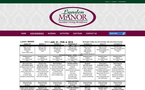 Screenshot of Menu Page lyndenmanor.com - Menu - Lynden Manor | Lynden, WA - captured Feb. 2, 2016