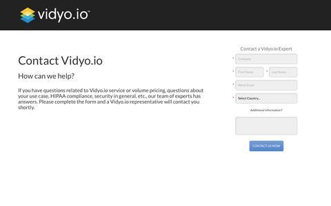 Screenshot of Landing Page vidyo.com - Contact Vidyo.io Expert - captured March 25, 2018