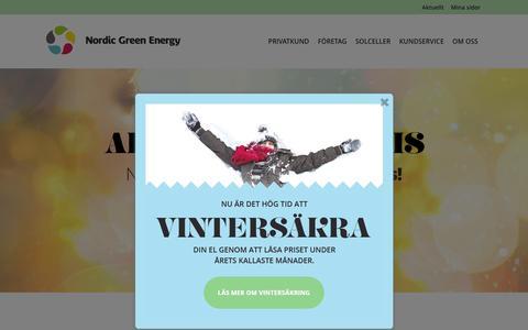 Screenshot of Home Page nordicgreen.se - Bästa elpriser på 100% grön el!   Nordic Green Energy - captured Feb. 22, 2016