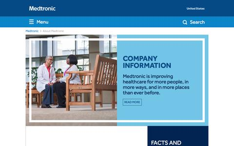 Screenshot of About Page medtronic.com - Improving Care Globally | About Medtronic - captured April 1, 2016