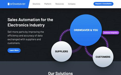 Screenshot of Home Page orbweaver.com - Orbweaver / Sales Automation for the Electronics Industry - captured March 20, 2019