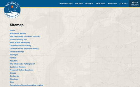 Screenshot of Site Map Page coloradowhitewaterrafting.com captured Oct. 19, 2018