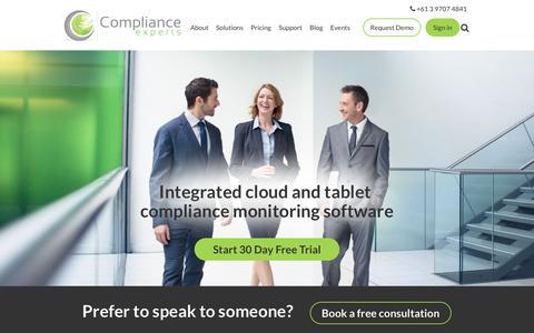 Screenshot of Home Page complianceexperts.com - Audit Risk Compliance Solutions |  Compliance Software & Audit - captured July 15, 2016