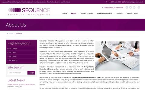 Screenshot of About Page sequencefm.co.uk - About Us - Sequence Financial Management - captured Oct. 3, 2014