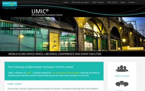 Screenshot of Home Page umic.co.uk - UMIC - University of Manchester Innovation Centre - captured Sept. 30, 2018