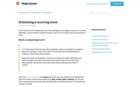Screenshot of Support Page robinpowered.com - Scheduling a recurring event – Robin Help Center - captured Jan. 22, 2019