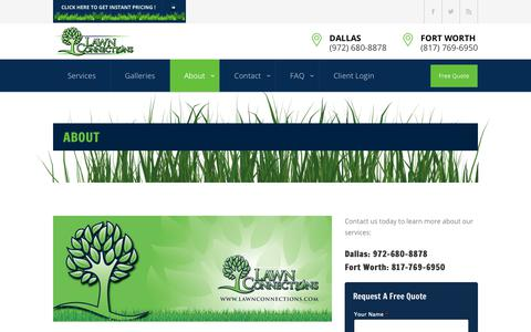 Screenshot of About Page lawnconnections.com - About us | Lawn Connections Services Dallas Fort Worth Metroplex - captured Sept. 27, 2018