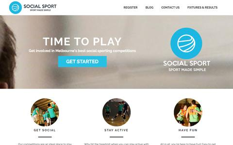 Screenshot of Home Page socialsport.com.au - Social Sport Melbourne | Choose your sport and start playing! - captured Jan. 12, 2016