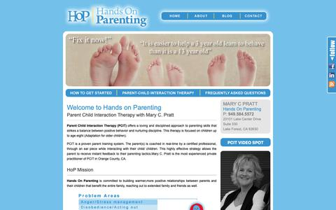 Screenshot of Home Page handsonparenting-pcit.com - Home - Hands On ParentingHands On Parenting - captured Sept. 27, 2018