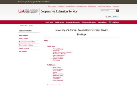 Screenshot of Site Map Page uaex.edu - Site Map - captured Sept. 14, 2016