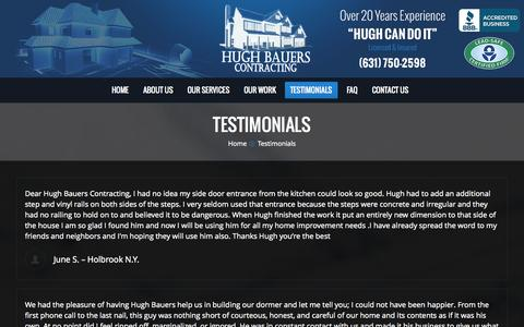 Screenshot of Testimonials Page hughbauerscontracting.com - Hugh Bauers Contracting |   Testimonials - captured Sept. 30, 2014