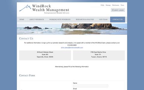 Screenshot of Contact Page windrockwealth.com - WindRock - Contact Us - captured Oct. 21, 2017