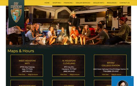 Screenshot of Locations Page rvstation.com - RV Station Hours and Locationsin Katy, Cleveland, Bryan, Nacogdoches, Donna, TX & Colbert, OK | RV Station Dealership - captured Oct. 21, 2018