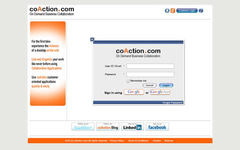 Screenshot of Login Page coaction.com - Online Business Collaboration SAAS | coAction.com - captured Oct. 3, 2014