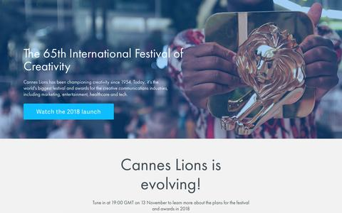 Screenshot of Home Page canneslions.com - Cannes Lions 2018 - captured Nov. 11, 2017