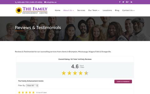 Screenshot of Testimonials Page tfec.ca - Reviews and Testimonials | The Family Enhancement Centre - captured Oct. 18, 2018