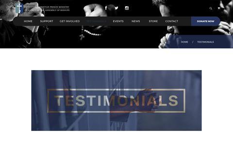 Screenshot of Testimonials Page theocpm.org - Testimonials | Orthodox Christian Prison Ministry - captured Oct. 26, 2017