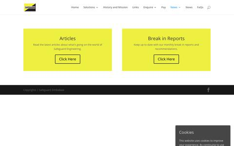 Screenshot of Press Page safeguard.co.zw - News | Articles | Break in Reports - Safeguard - captured Nov. 12, 2018