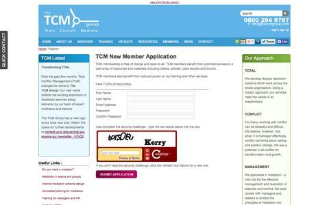 Screenshot of Signup Page thetcmgroup.com - Member Registration - captured Oct. 10, 2014