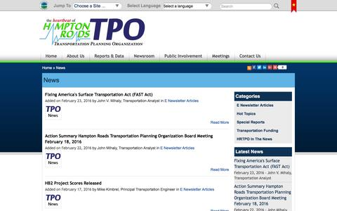 Screenshot of Press Page hrtpo.org - News   Hampton Roads Transportation Planning Organization - The Heartbeat of Hampton Roads - captured March 16, 2016